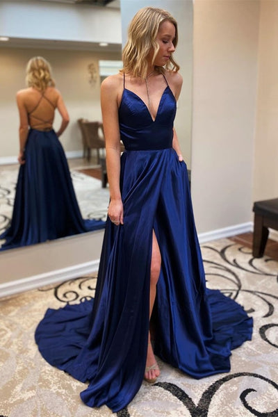 A Line V Neck Backless Navy Blue Long Prom Dresses with High Slit, Backless Navy Blue Formal Dress, Navy Blue Evening Dress