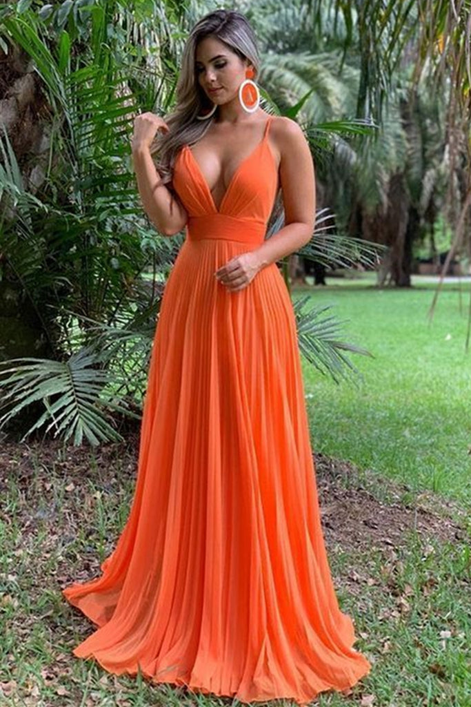 A Line V Neck Backless Orange Chiffon Long Prom Dress, V Neck Backless Orange Formal Graduation Evening Dress, Orange Bridesmaid Dress