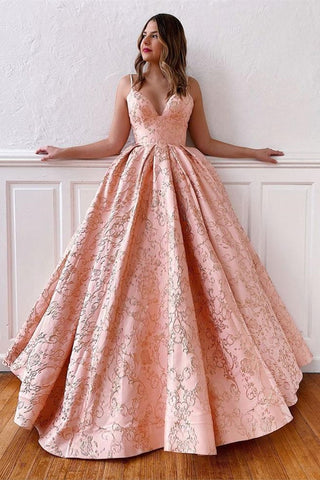A Line V Neck Backless Pink Lace Prom Dress, Open Back Pink Lace Formal Dress, Pink Lace Evening Dress