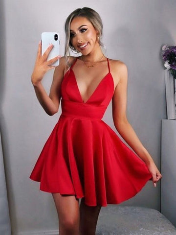 A Line V Neck Backless Red Satin Short Prom Dresses Cute Homecoming Dresses, Red Graduation Dresses