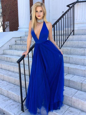 A Line V Neck Backless Royal Blue Long Prom Dresses, Royal Blue V Neck Formal Graduation Evening Dresses