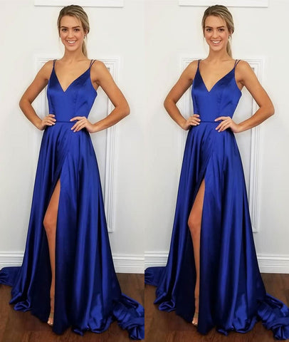 A Line V Neck Backless Royal Blue Satin Long Prom Dress with Leg Slit, Royal Blue Formal Dress, Evening Dress