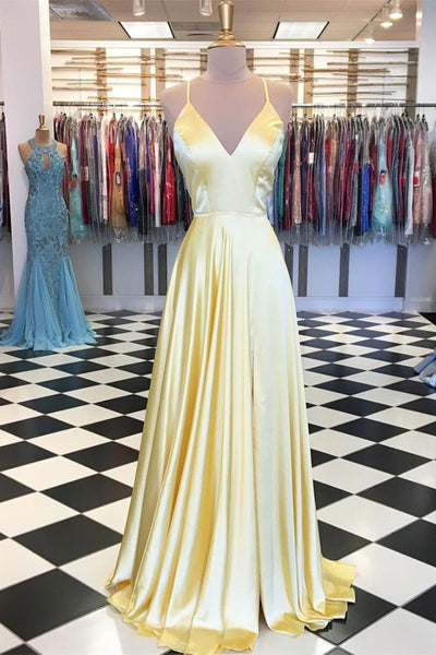 A Line V Neck Backless Yellow Satin Long Prom Dresses, Yellow Backless Formal Dresses, Yellow Evening Dresses