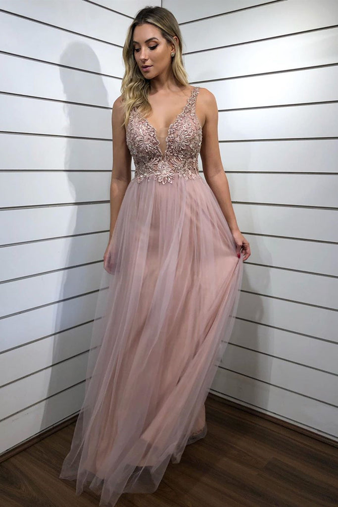 A Line V Neck Beaded Champagne Long Prom Dress, Champagne Formal Graduation Evening Dress