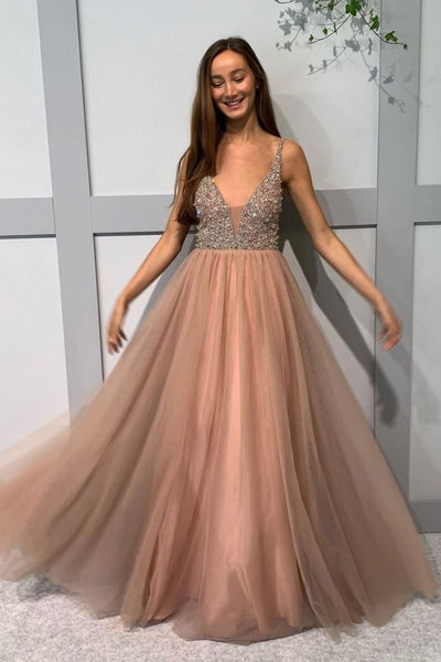 A Line V Neck Beaded Champagne Tulle Long Prom Dress, V Neck Beaded Champagne Formal Dress, Champagne Evening Dress
