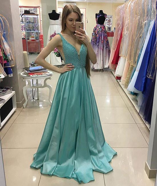 A Line V Neck Beaded Satin Long Prom Dress, V Neck Satin Formal Dress, Evening Dress