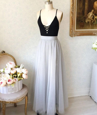 A Line V Neck Black Top Gray Prom Dresses, Gray Formal Dresses, V Neck Black Top Gray Evening Dresses, Graduation Dresses