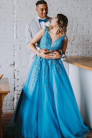 A Line V Neck Blue Lace Long Prom Dress, Blue Lace Formal Dress, Blue Evening Dress