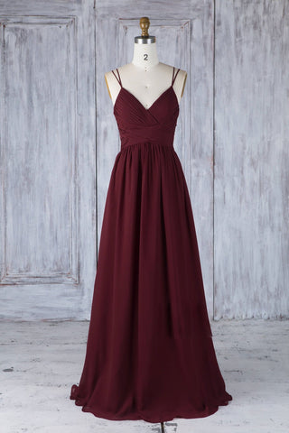A Line V Neck Burgundy Chiffon Long Prom Dress with Lace Back, V Neck Lace Back Burgundy Formal Graduation Evening Dress