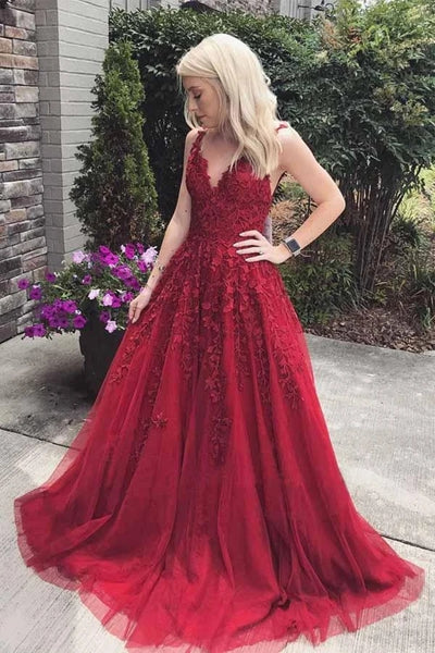 A Line V Neck Burgundy Lace Long Prom Dress, Burgundy Lace Formal Graduation Evening Dress
