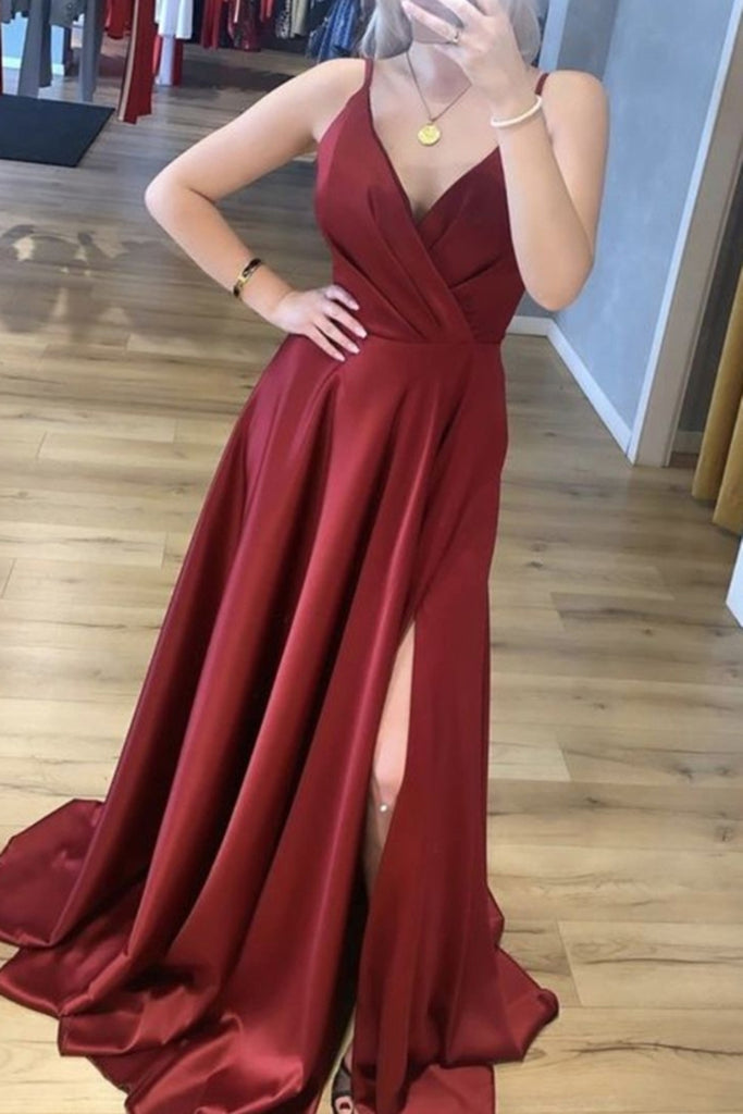 A Line V Neck Burgundy Satin Long Prom Dress with High Slit, V Neck Burgundy Formal Graduation Evening Dress