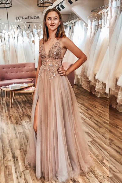 A Line V Neck Champagne Tulle Long Prom Dress, V Neck Champagne Formal Dress, Champagne Evening Dress