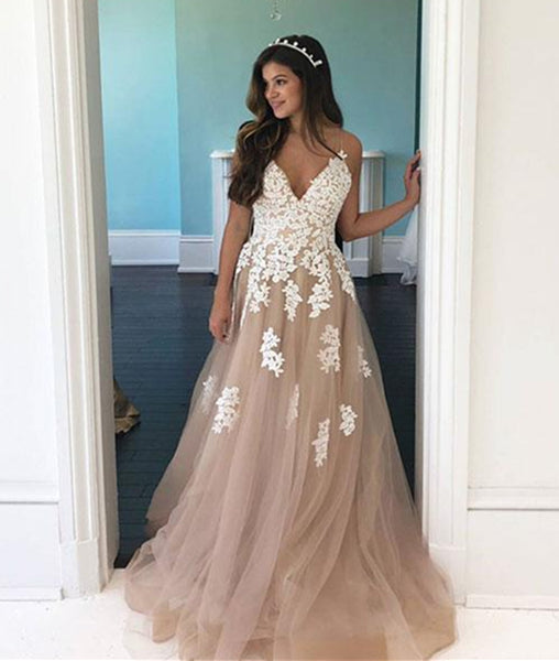 A Line V Neck Champagne Tulle Long Prom Dress with White Lace, Champagne Formal Dress with Appliques, Evening Dress