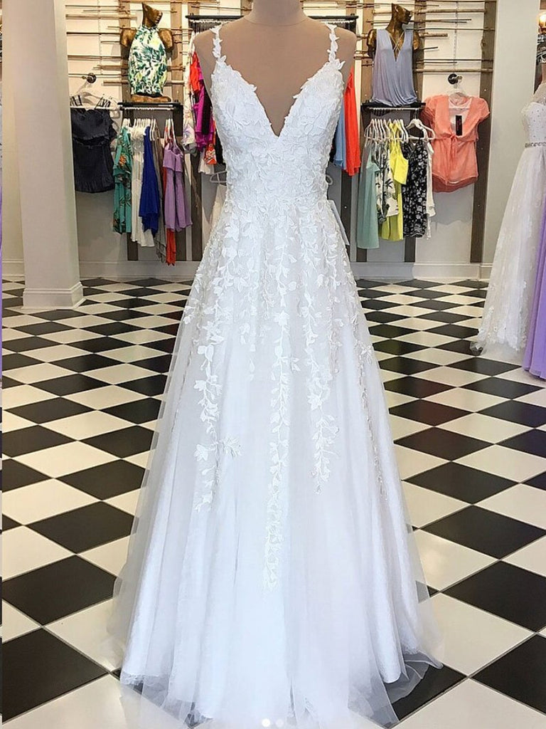 A Line V Neck Floor Length Lace White Long Prom Dresses White Lace Fo Abcprom