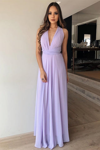 A Line V Neck Floor Length Lilac Chiffon Long Prom Dress, Lilac Lavender Formal Graduation Evening Dress, Lilac Bridesmaid Dress