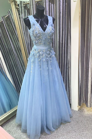 A Line V Neck Floral Light Blue Lace Long Prom Dress, Light Blue Lace Formal Graduation Evening Dress