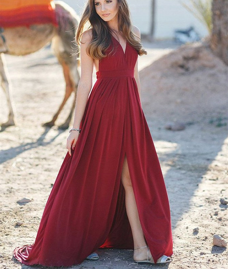 76521c21eeb A Line V Neck High Slit Burgundy Long Prom Dresses with Sweep Train ...