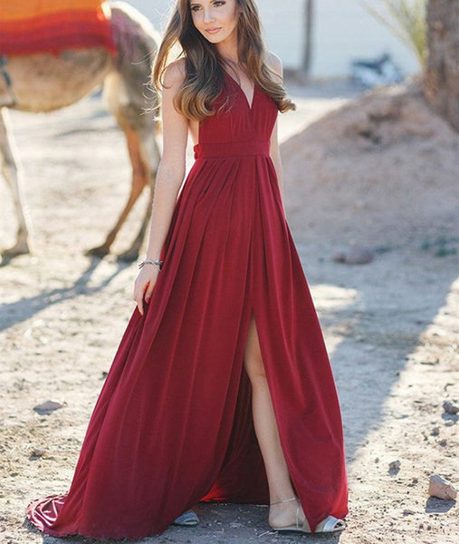 A Line V Neck High Slit Burgundy Long Prom Dresses with Sweep Train, Burgundy Formal Evening Graduation Dresses with High Slit