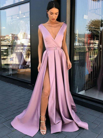 A Line V Neck High Slit Purple Satin Long Prom Dresses, V Neck Purple Formal Graduation Evening Dresses with Side Slit