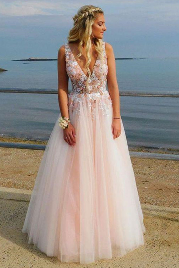 A Line V Neck Lace Appliques Pink Tulle Long Prom Dress V Neck Pink Lace Formal Dress Lace Pink Evening Dress Pink Ball Gown