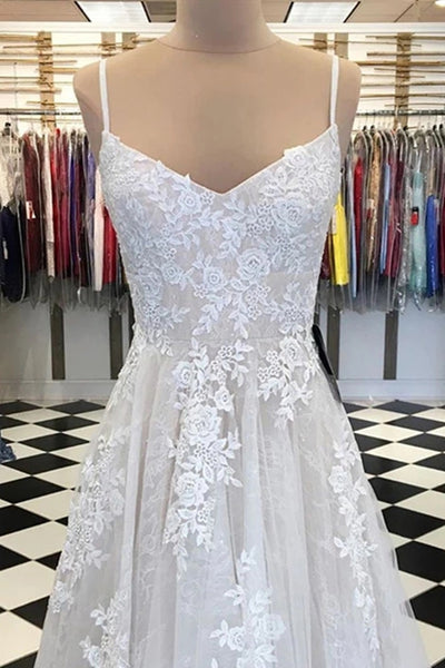 A Line V Neck Lace Appliques White Prom Dress, White Lace Formal Dress, White Evening Dress