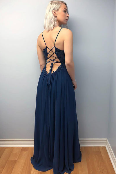 A Line V Neck Lace Beading Top Cross Back Navy Blue Prom Dresses with Leg Split, Navy Blue Formal Dresses, Lace Evening Dresses 2019