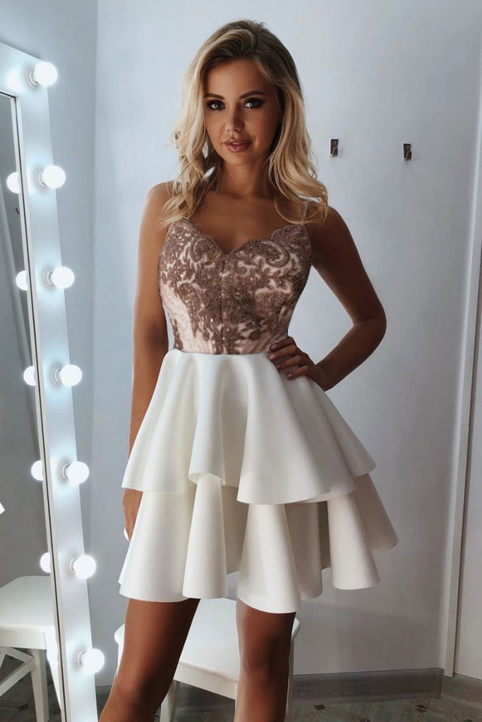 A Line V Neck Lace Layered White Short Prom Dress Homecoming Dress, Short Lace White Formal Evening Graduation Dress