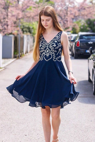 A Line V Neck Navy Blue Short Prom Dress Homecoming Dress, Navy Blue V Neck Formal Graduation Evening Dress