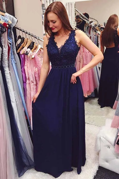 A Line V Neck Open Back Navy Blue Lace Long Prom Dress, V Neck Navy Blue Lace Formal Graduation Evening Dress