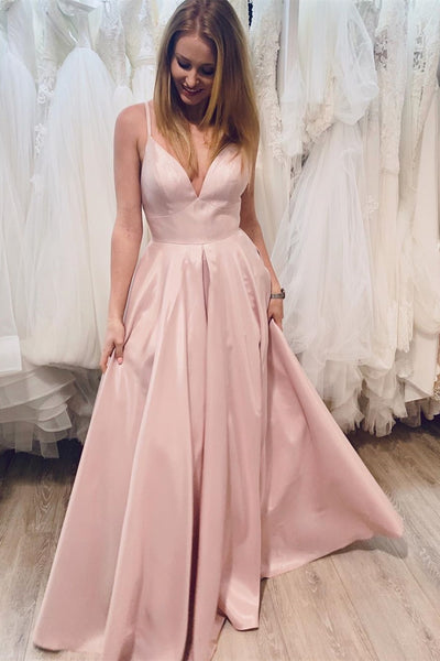 A Line V Neck Pink Satin Long Prom Dress, V Neck Pink Formal Dress, Pink Evening Dress