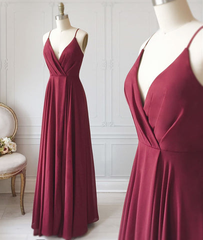 A Line V Neck Pleated Burgundy Long Prom Dress, V Neck Burgundy Long Evening Dress, Burgundy Graduation Dress, Formal Dress