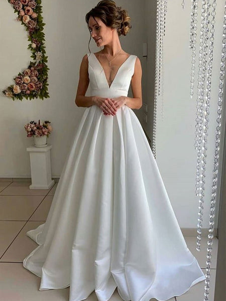 A Line V Neck Pleated Satin Whtie Long Prom Dresses Wedding Dresses, White Formal Dresses, Evening Dresses