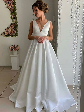 78463654cb7 A Line V Neck Pleated Satin Whtie Long Prom Dresses Wedding Dresses