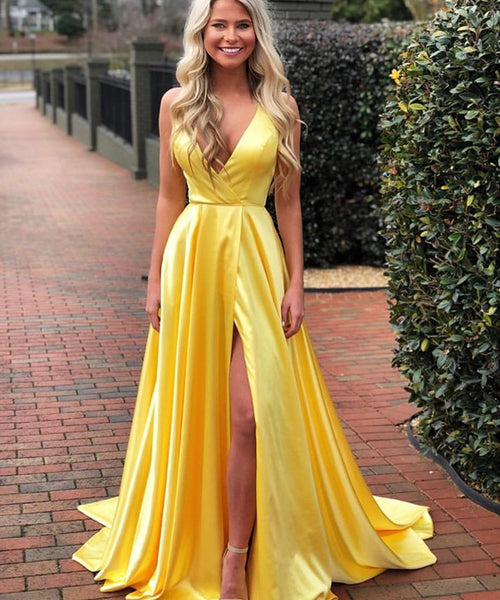 A Line V Neck Royal Blue/Yellow Satin Long Prom Dresses with Side Slit, Royal Blue/Yellow V Neck Formal Graduation Evening Dresses