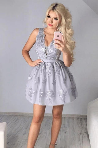 A Line V Neck Silver Gray Lace Appliques Short Prom Dress Homecoming Dress, Silver Gray Lace Formal Graduation Evening Dress