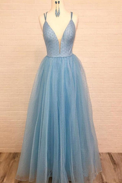 A Line V Neck Sky Blue Long Prom Dress 2020 with Tiny Dot Print, V Neck Sky Blue Formal Graduation Evening Dress