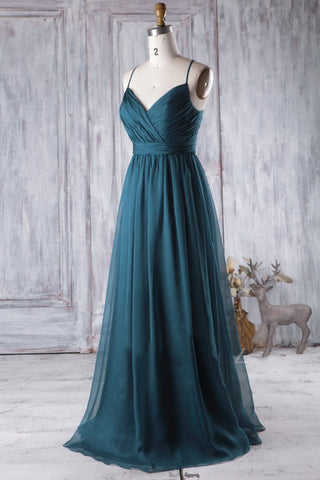 A Line V Neck Spaghetti Strap Peacock Blue Chiffon Long Prom Dress, V Neck Peacock Blue Formal Dress Graudation Evening Dress, Peacock Blue Bridesmaid Dress