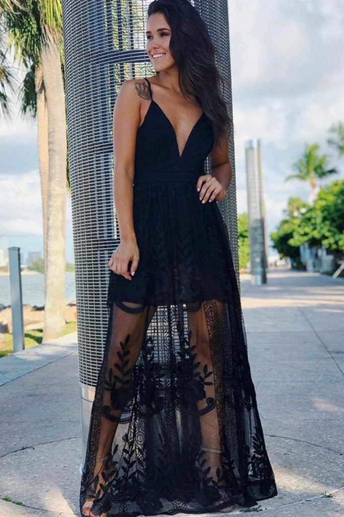 A Line V Neck Spaghetti Straps Lace Black Long Prom Dresses, V Neck Black Formal Dresses, Lace Evening Dresses