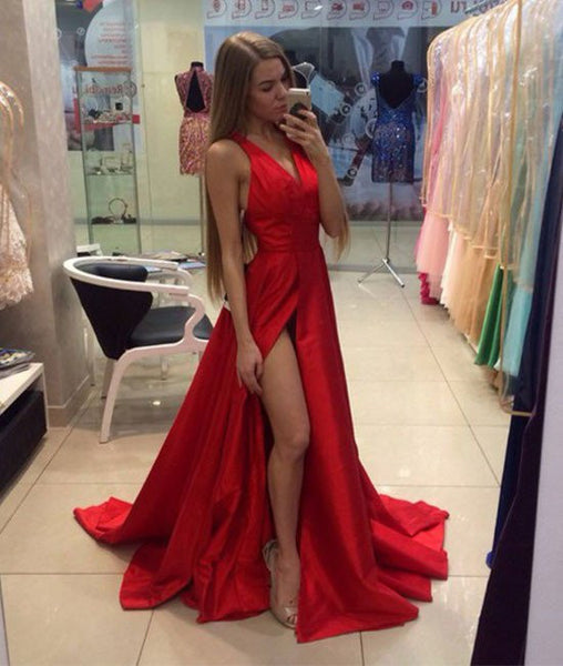 A Line V Neck Sweep Train Long Red Prom Dresses, Red Formal Dresses, Red Evening Dresses