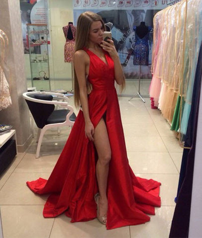 A Line V Neck Sweep Train Long Red Prom
