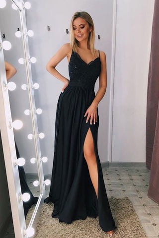 A Line V Neck Sweetheart Neck Lace Black Prom Dress with Split, Sweetheart Neck Black Lace Formal Graduation Evening Dress