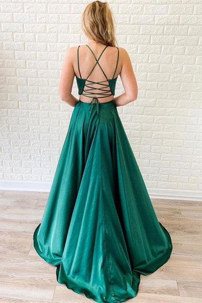A Line V Neck Two Pieces Backless Green Satin Long Prom Dresses with Leg Slit, Two Pieces Green Formal Dresses, Green Evening Dresses