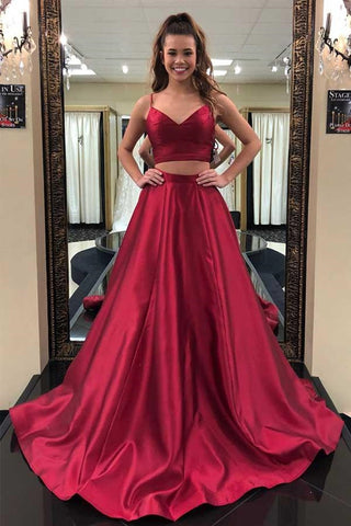A Line V Neck Two Pieces Burgundy Long Prom Dress, Two Pieces Burgundy Formal Dress, Burgundy Evening Dress
