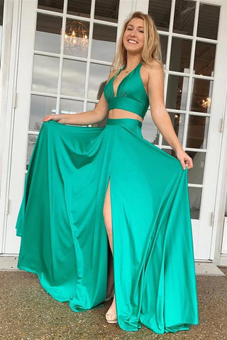 A Line V Neck Two Pieces Green Long Prom Dress with Slit, Two Pieces Green Formal Graduation Evening Dress