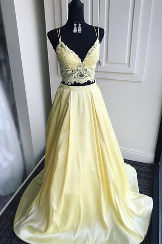 A Line V Neck Two Pieces Lace Top Yellow Prom Dress, Two Pieces Yellow Formal Dress, Yellow Lace Evening Dress