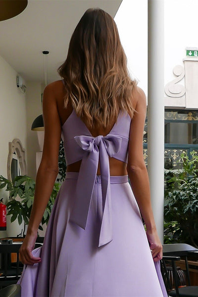 A Line V Neck Two Pieces Lavender Prom Dresses with High Slit, Two Pieces Lavender Formal Dresses, Evening Dresses, Graduation Dresses