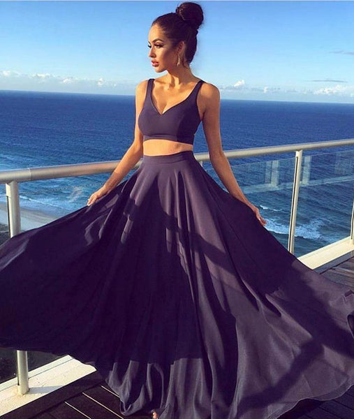 A Line V Neck Two Pieces Navy Blue Prom Dresses, Navy Blue Two Piece Long Evening Dresses, Navy Blue Formal Graduation Dresses
