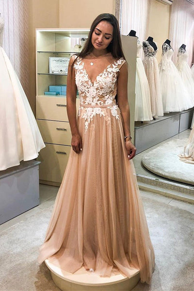 A Line V Neck White Lace Champagne Tulle Long Prom Dresses, Lace Champagne Formal Dresses, Champagne Evening Dresses