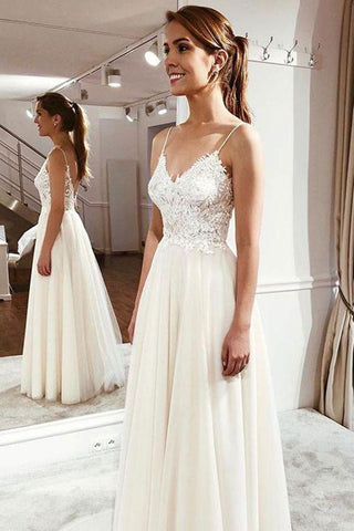 A Line V Neck White Lace Long Prom Dress, White Lace Formal Dress, White Evening Dress
