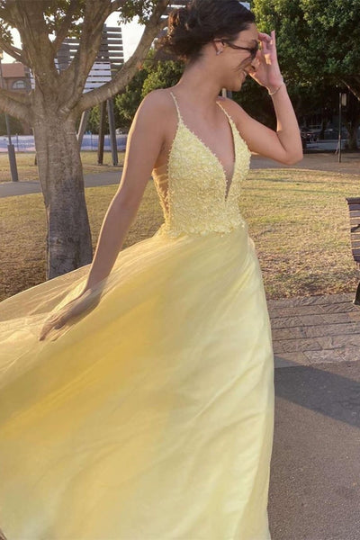 A Line V Neck Yellow Lace Long Prom Dresses, V Neck Yellow Lace Formal Graduation Evening Dresses